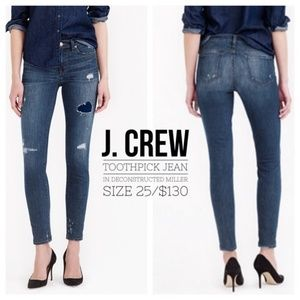 J. Crew Toothpick Jean//Deconstructed Miller Wash